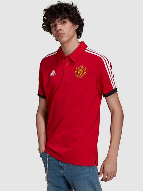 adidas-manchester-united-3-stripe-polo-red