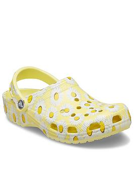 crocs-classic-floral-clog-flat-shoe-yellow