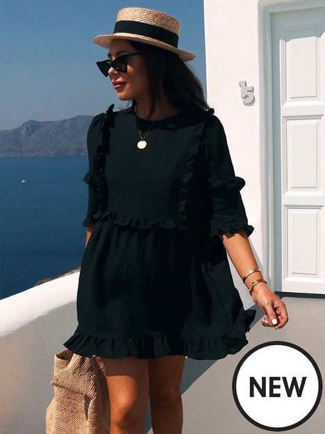 in-the-style-in-the-style-xnbsplorna-luxe-lsquogirls-girlrsquo-frill-detail-skater-dress-black