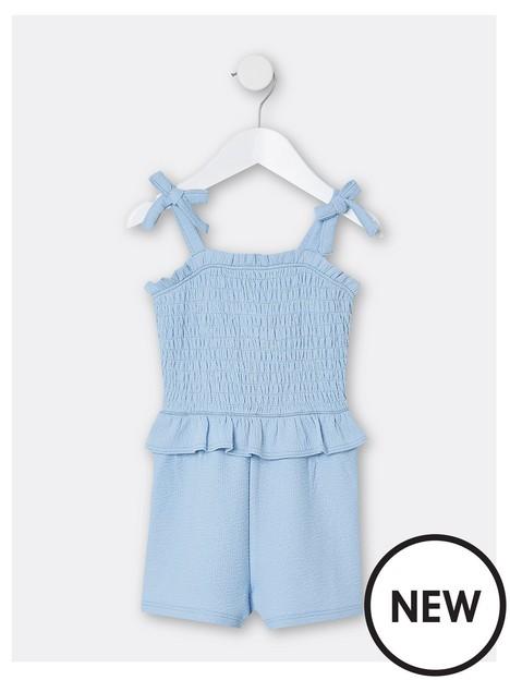 river-island-mini-mini-girls-shirred-playsuit-blue