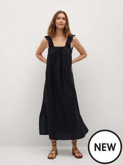 mango-delos-ruffle-strap-midi-dress