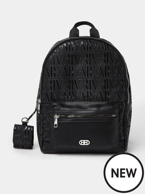 river-island-monogram-zip-school-backpack-black
