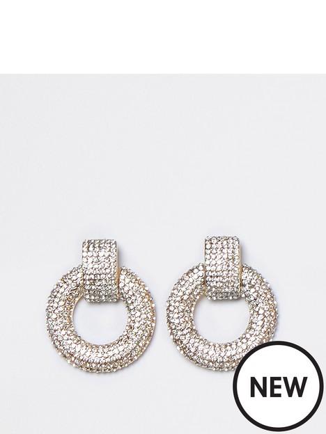 river-island-river-island-diamante-circular-earrings-gold