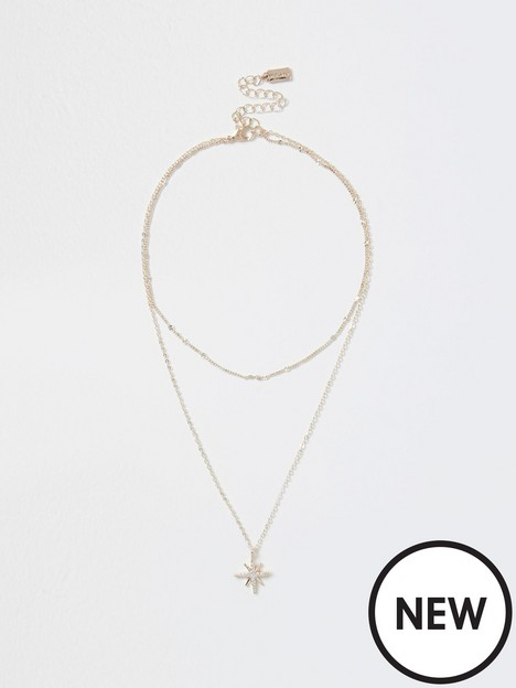 river-island-river-island-double-layered-star-pendent-necklace-gold