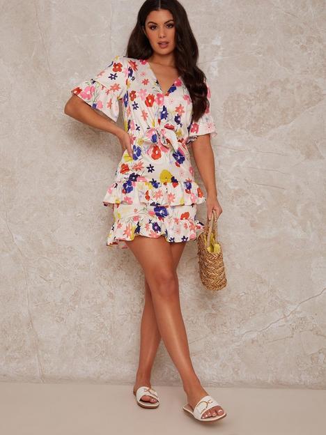 chi-chi-london-floral-tie-front-mini-dress-multi