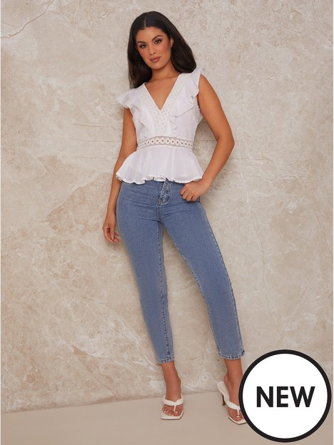 chi-chi-london-v-neck-ruffle-trip-top-with-broderie-insert-white