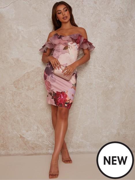 chi-chi-london-chi-chi-organza-ruffle-floral-print-bodycon-mini-dress-in-pink