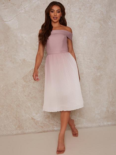 chi-chi-london-chi-chi-bardot-ombre-pleated-midi-dress-in-pink