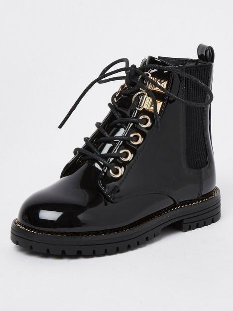 river-island-mini-mini-girls-lacer-up-patent-boot-black