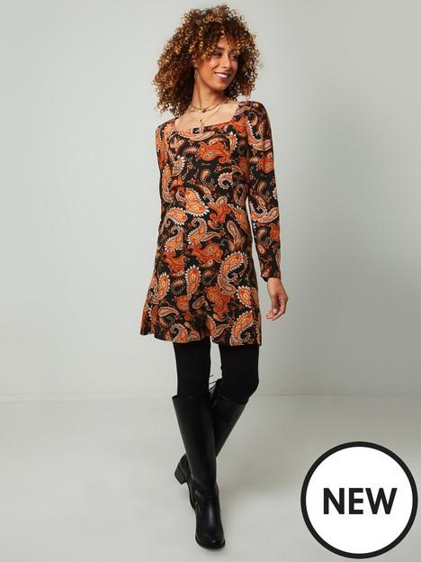 joe-browns-pretty-paisley-tunic-dress-orange
