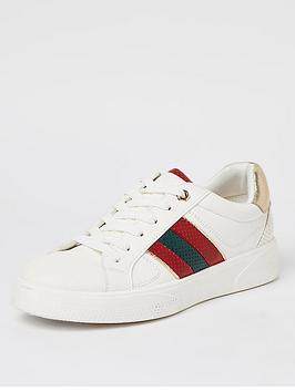 river-island-side-stripe-lace-up-trainer-white