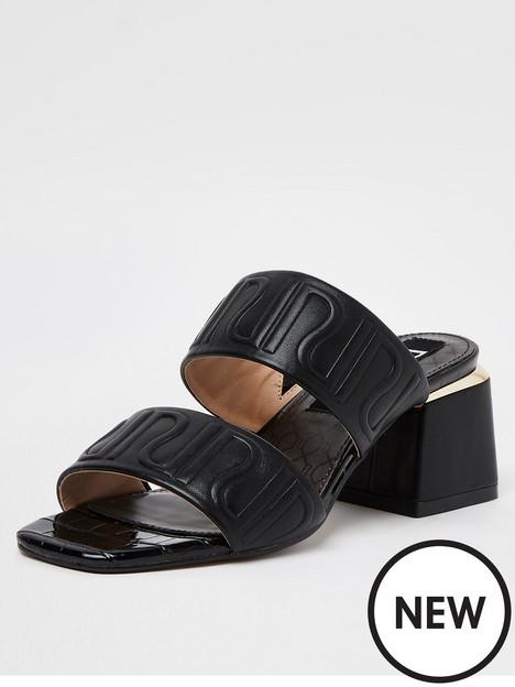 river-island-embbossed-mule-sandal-black