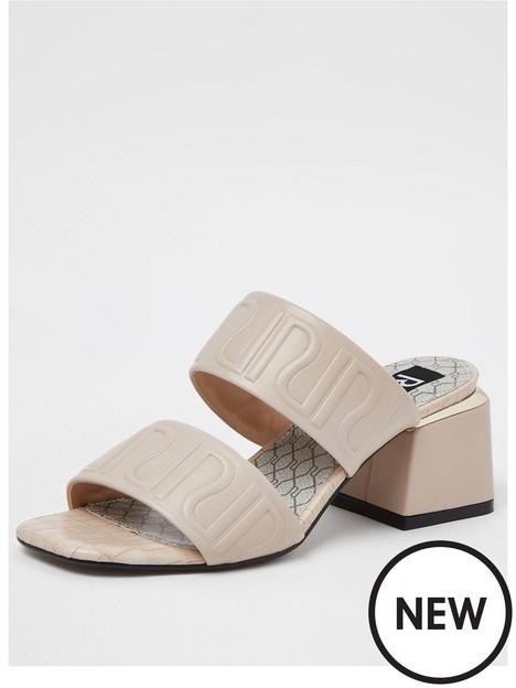 river-island-embossed-mule-sandal-cream