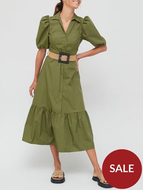 river-island-shortsleeve-poplin-shirt-midi-dress-khaki