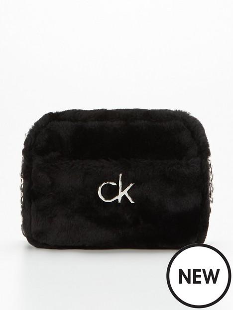 calvin-klein-faux-fur-camera-bag-black
