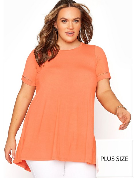 yours-yoursnbspcuff-sleeve-detail-tee-orange