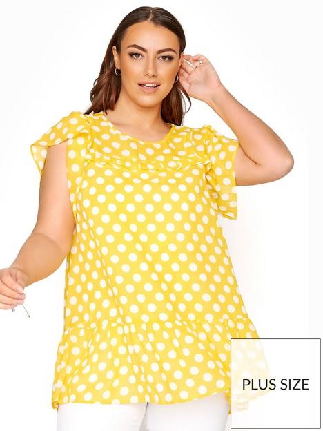 yours-yours-clothing-frill-yoke-hem-tunic-yellow-spot