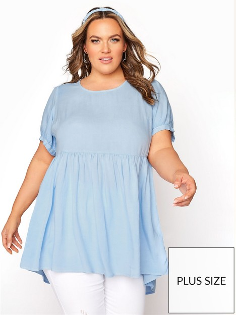 yours-yoursnbspdip-back-peplum-top-blue