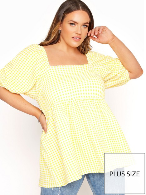 yours-yours-limited-lemon-gingham-square-neck-top