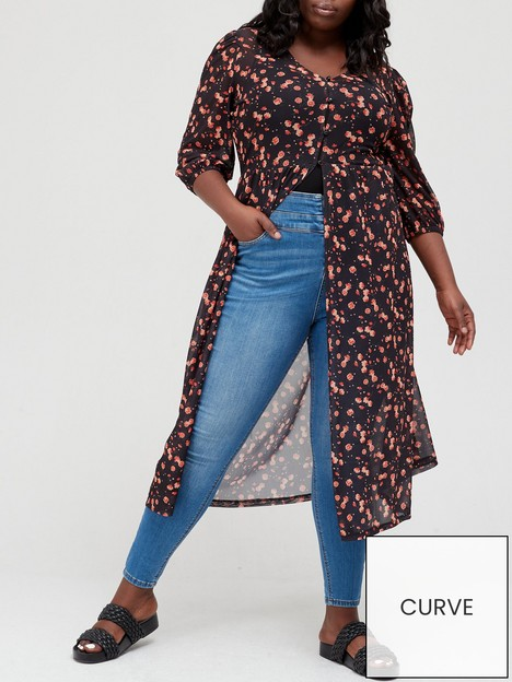 v-by-very-curve-puff-sleeve-button-front-floral-kimono-blackfloral
