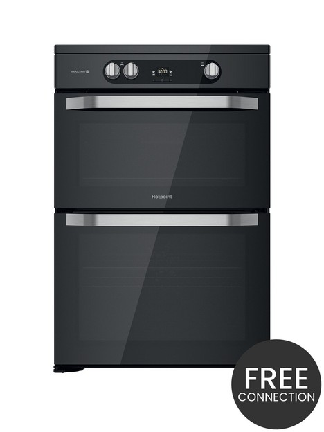 hotpoint-hdm67i9h2cb-60cm-wide-freestanding-double-oven-induction-cooker