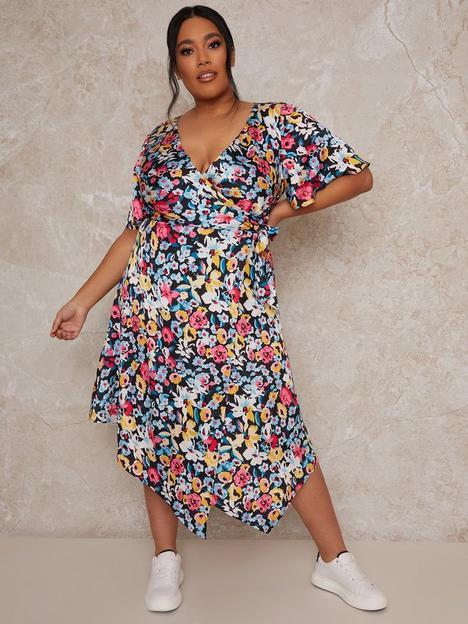chi-chi-london-curve-short-sleeve-floral-print-midi-dress-multi