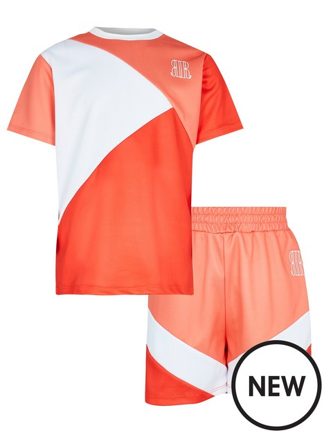 river-island-boys-colour-block-t-shirt-and-short-set-coral