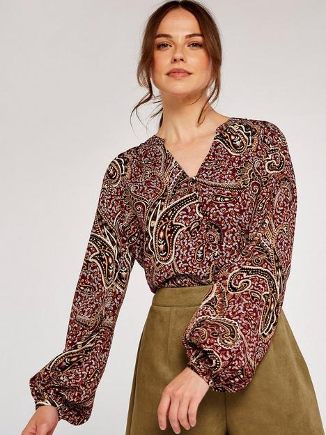 apricot-button-front-paisley-print-top-wine