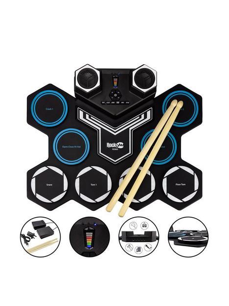rockjam-rockjam-rechargeable-bluetooth-roll-up-drum-kit-with-inbuilt-speakers-drumsticks