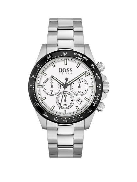 boss-boss-hero-white-chronograph-dial-black-bezel-stainless-steel-bracelet-watch