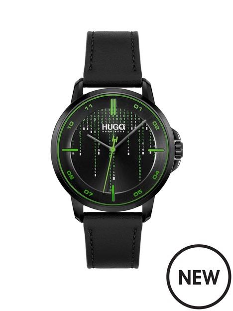 hugo-hugo-black-dial-green-accents-strap-watch