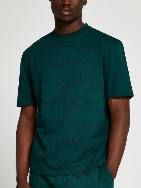 river-island-prolific-monogram-regular-fit-t-shirt-green