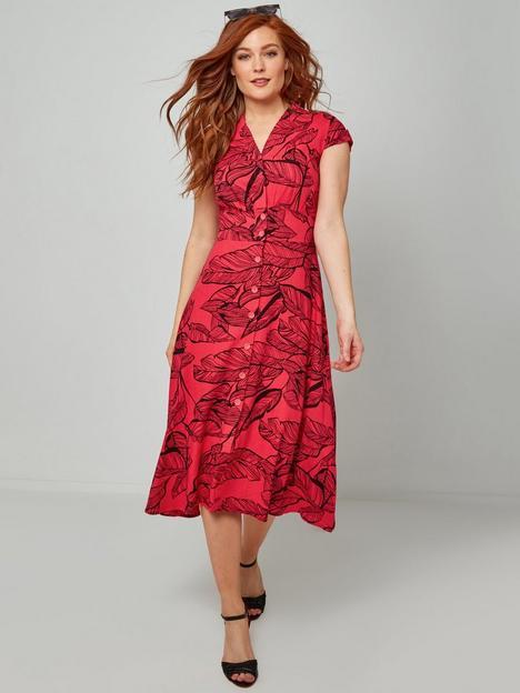 joe-browns-vibrant-palm-midi-dress--red