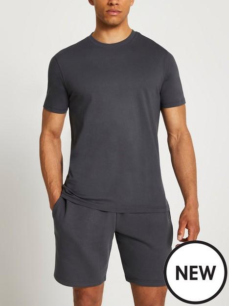river-island-2-piece-t-shirt-shorts-set-dark-grey