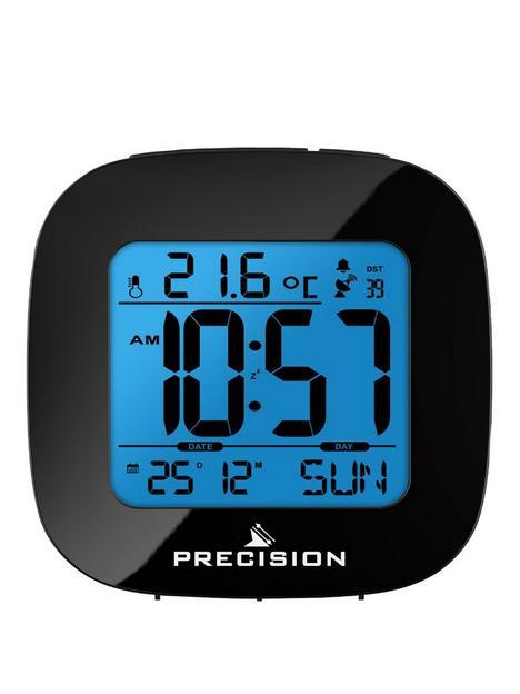 precision-precision-radio-controlled-lcd-black-alarm-clock
