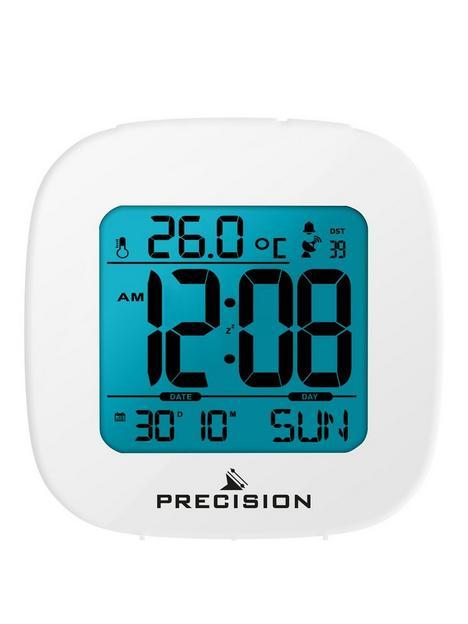 precision-precision-radio-controlled-lcd-white-alarm-clock