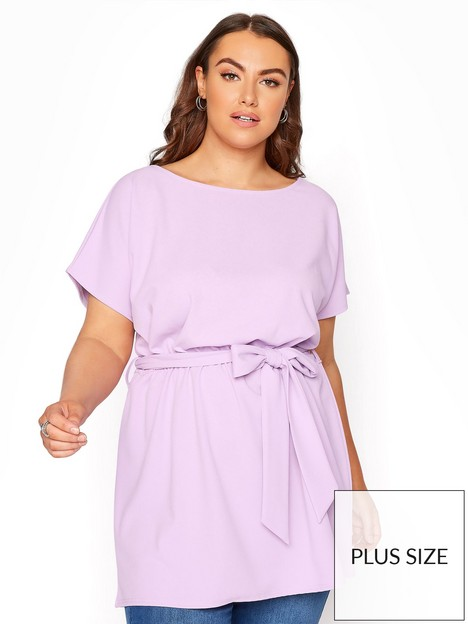 yours-yours-belted-cape-top-purple