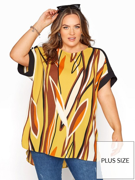yours-yours-rn-dip-back-black-contrast-tunic-brown-mustard