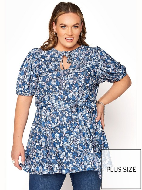 yours-yours-ditsy-floral-tie-neck-belted-peplum-top