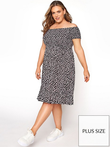 yours-yours-shirred-all-over-print-bardot-dress-black-ditsy-print