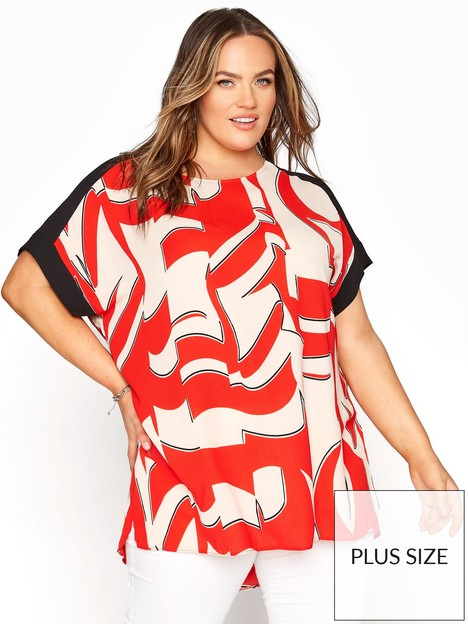 yours-yours-rn-dip-back-black-contrast-tunic-red-cream