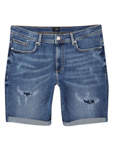 river-island-ripped-skinny-fit-denim-shorts-blue