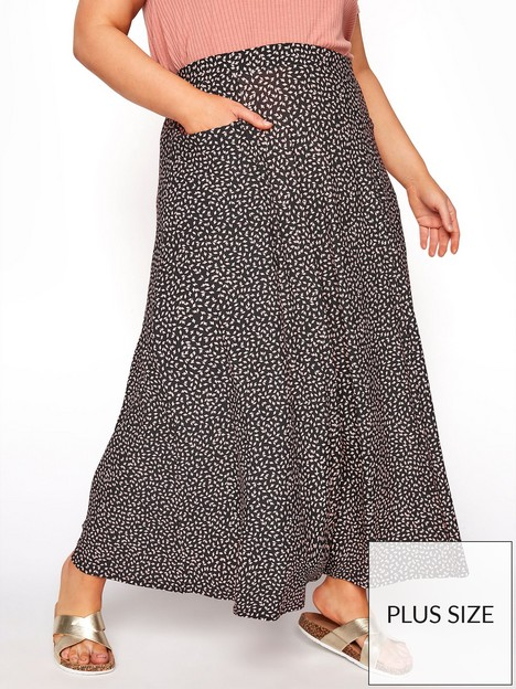 yours-yours-maxi-pocket-print-skirt-black