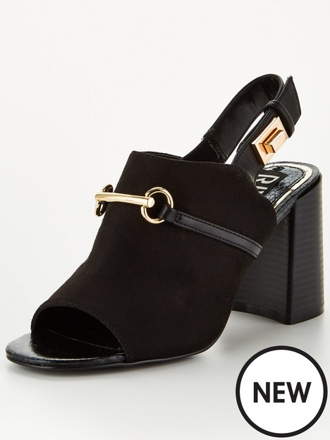 river-island-suede-buckle-heeled-shoe-boot-black