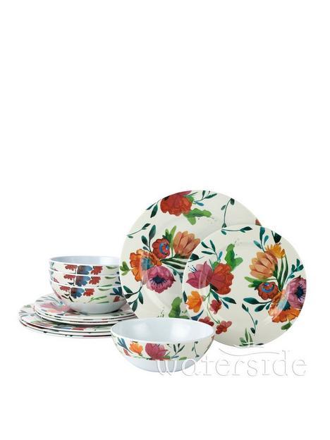 waterside-12-piece-blossom-melamine-dinner-set