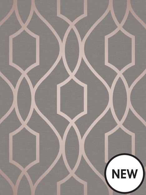 fine-dcor-fine-dcor-apex-geo-trellis-copper-charcoal-wallpaper