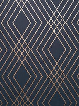 fine-dcor-fine-dcor-shard-trellis-navy-gold-wallpaper
