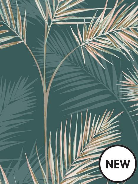 fine-dcor-fine-decor-south-beach-palm-leaf-emerald-wallpaper