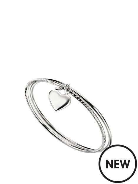 the-love-silver-collection-double-diamond-cut-bangle-with-heart