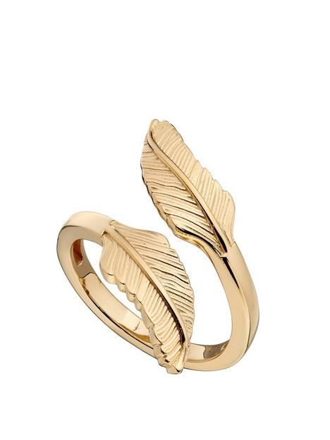 the-love-silver-collection-gold-plated-feather-ring